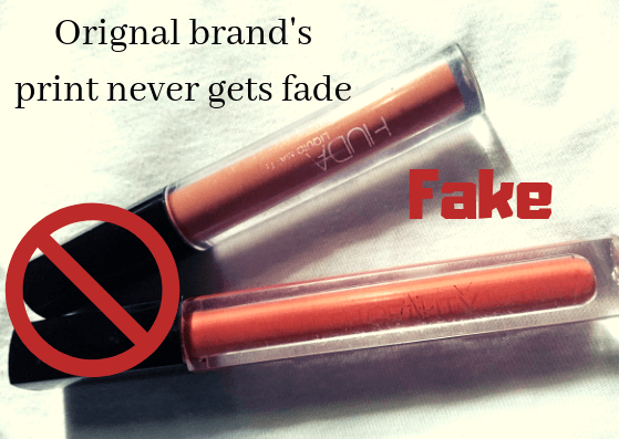 Faded print of fake/duplicate product