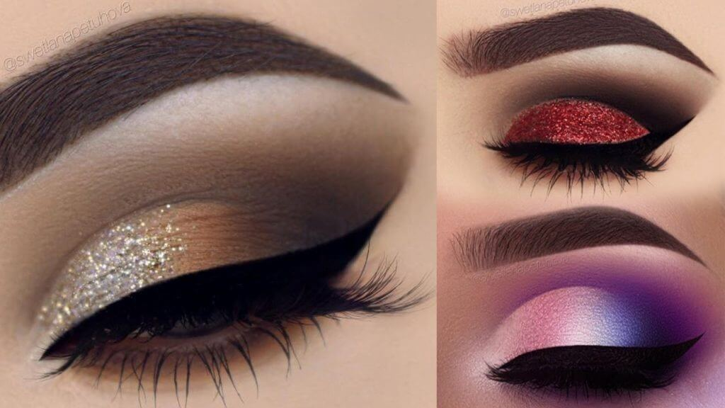 Glitter look eye makeup and smokey eyes