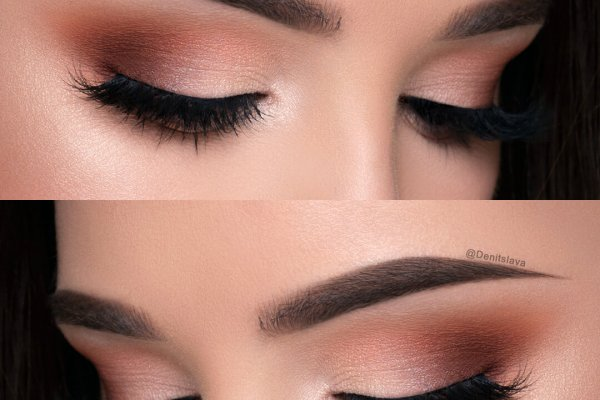 Smokey eyes light makeup and fine eyebrows